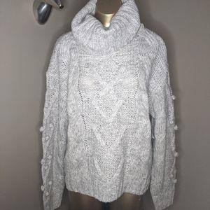 Grey Knit Pom Pom Sleeve Turtleneck Sweater